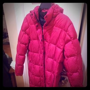 Womens North Face Long Down Jacket, Size XL
